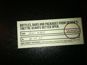 Limited Edition Dewar's gift box. I'm one of 25. Lucky Bastard.